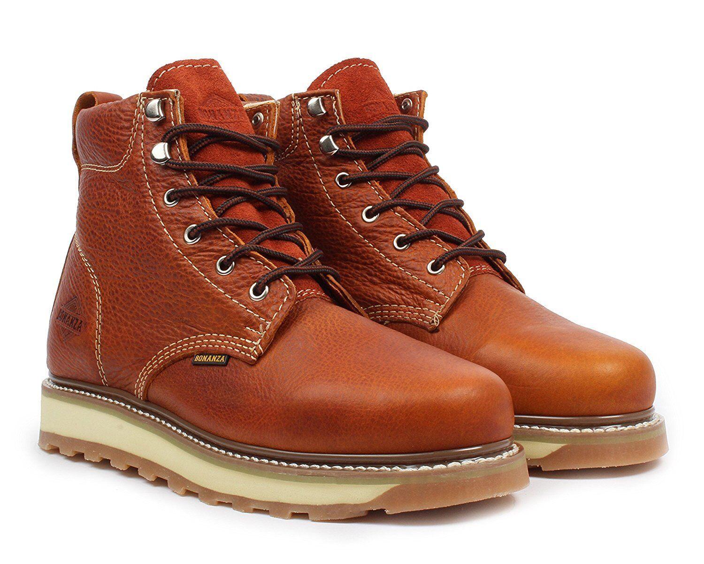 Bonanza BA-642 para Hombre Luz Marrón 6  con cordones punta rojoonda botas De Trabajo