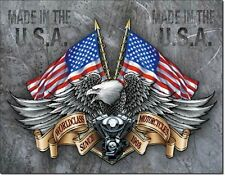 NEW World Class Motorcycles Antique Vintage Look USA Bald Eagle Tin Metal Sign