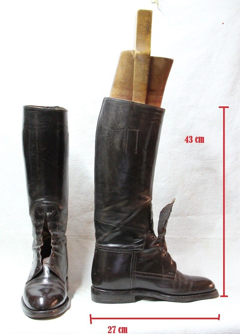 Old pair of leather Goodyear boots & wooden boots mold forms 43 cm x 27 cm