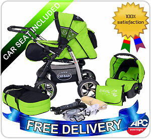 Junior-pram-pushchair-stroller-buggy-3-in1-from-Baby-Merc-car-seat-included