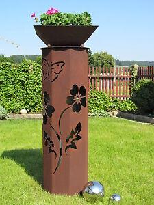 8Eck-Saeule-Rost-Blume-Saeule-Edelrost-Metall-Gartendeko-Rost-Deko-Edelstahl-Kugel