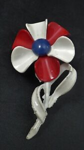 Vintage-Enamel-Red-White-Blue-Flower-Brooch-Pin-Patriotic-Gold-Tone-Retro