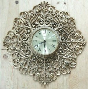 VINTAGE FRENCH FARMHOUSE GOLD BURWOOD HOLLYWOOD REGENCY HOMCO CLOCK MID CENTURY