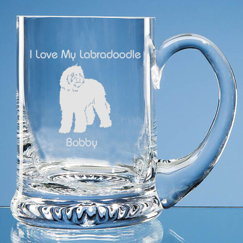 Labradoodle Dog Lover Gift Personalised Engraved Handmade Fine Glass Tankard