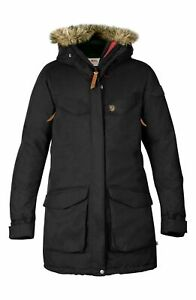 Fjallraven 256286 Womens Nuuk Faux-Fur-Trim Hooded Parka Coat Black Size Large