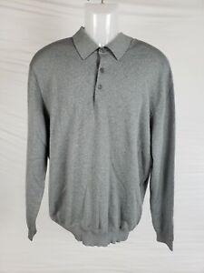 EUC Ermenegildo Zegna Grey Men's Knit Long Sleeve Polo Wool/Cashmere Blend