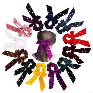 Velvet-w-Pearl-Bow-Tie-Hair-Rope-Elastic-Hair-Bands-Streamers-Scrunchie-Ponytail