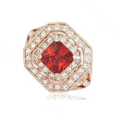 GORGEOUS VINTAGE INSPIRED 18K ROSE GOLD PLATED GENUINE CZ /& AUSTRIA CRYSTAL RING