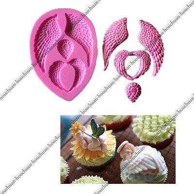 Angel Wings Silicone Fondant Cake Bakeware Cupcake Chocolate Decorating DIY Mold