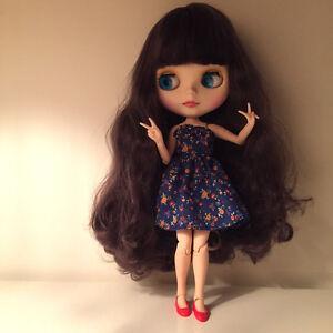 Corps de poupée Blythe poupée pourpre, cheveux violets, 12 po, cadeau d'usine Ca6001 (mains)  neo Nude Purple Hair Joint Body Blythe Doll From Factory Ca6001 Gift (hands)