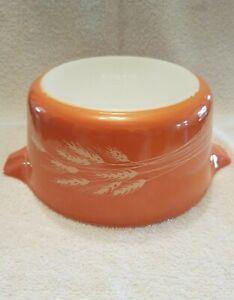 Vintage Pyrex 474 B Autumn Harvest Wheat Glass Mixing Nesting Bowl Handles