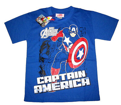 AVENGERS CAPTAIN AMERICA boys cotton t-shirt Sz 6,8,10,12 Age 4-9 yr Free Ship