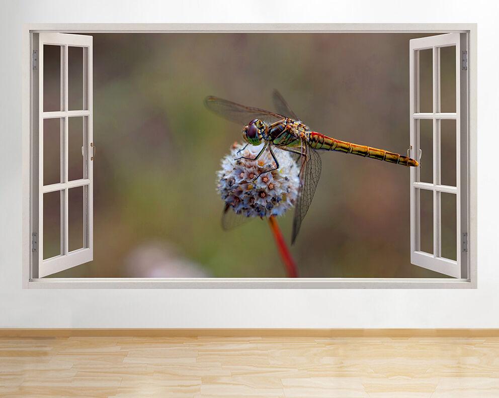 R533 libellule insectes Fleur fenêtre Mur  Autocollant Chambre 3D Vinyle enfants