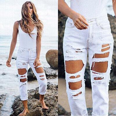Womens Fashion Ladies Hole Leggings Stretchy Pencil Denim Sexy Pants Jeggings