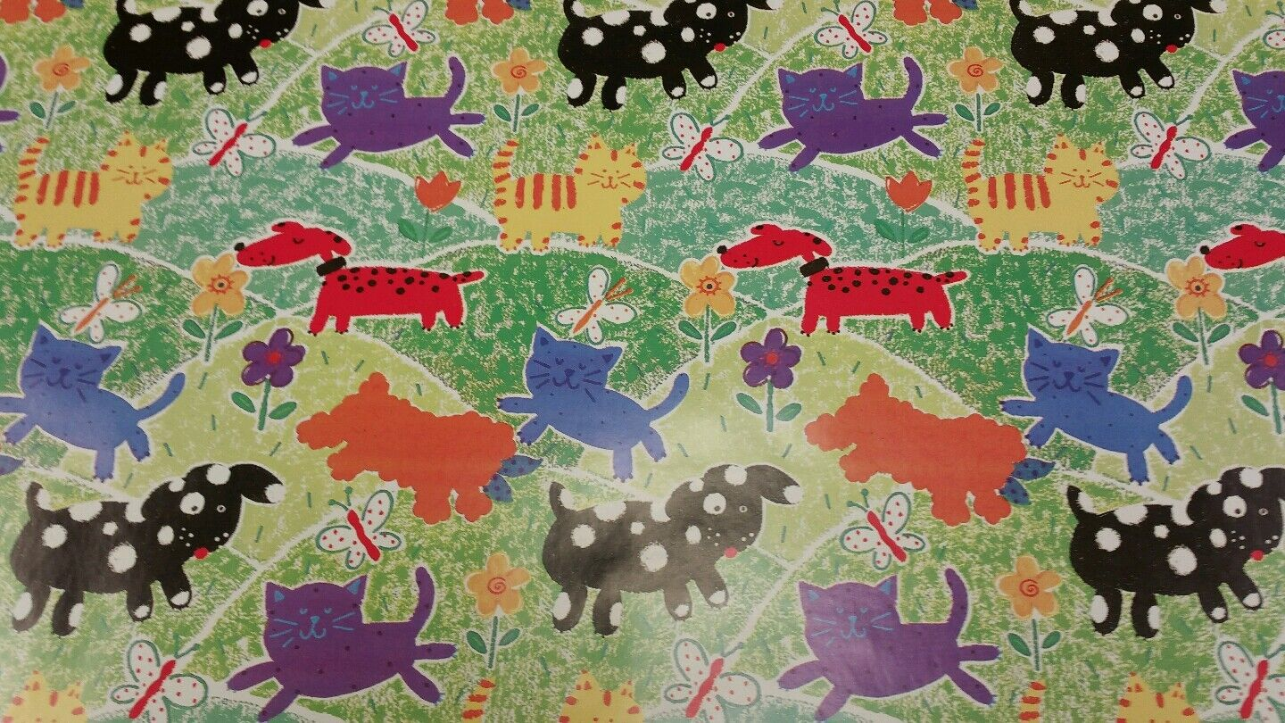 Half ream 26 inch wide Cats and Dogs gift wrap 417 feet