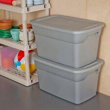 Sterilite 30 Gallon Tote Box Steel Case of 6 Grey Storage Plastic Container Lid