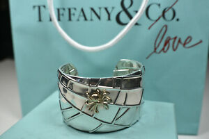 Tiffany-amp-Co-Silver-Nature-18K-Gold-Spider-Web-Cuff-Bangle-Bracelet-Pouch-amp-Box