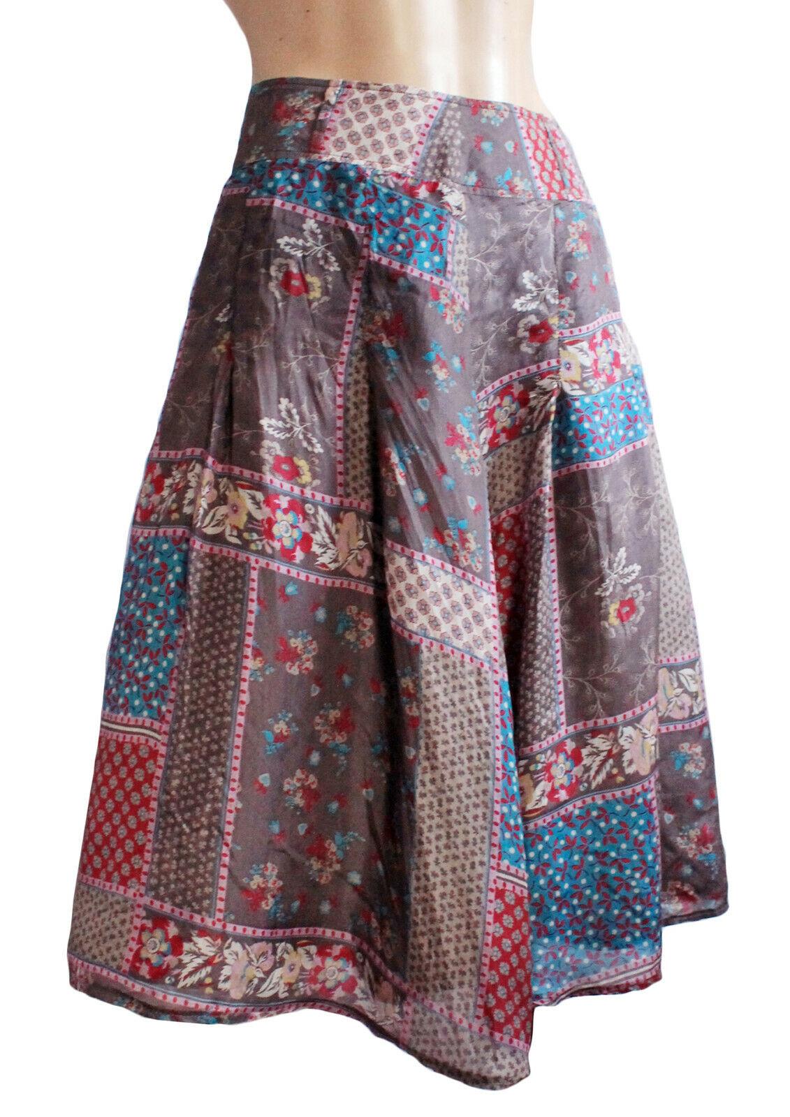 100% Silk Lined Skirt UK Size 16/18 EU 46 Grey Indian Floral 63.5cm