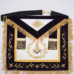 Master-Mason-Masonic-Regalia-Grand-Lodge-Apron-Gold-Embroidery-Purple-WLC