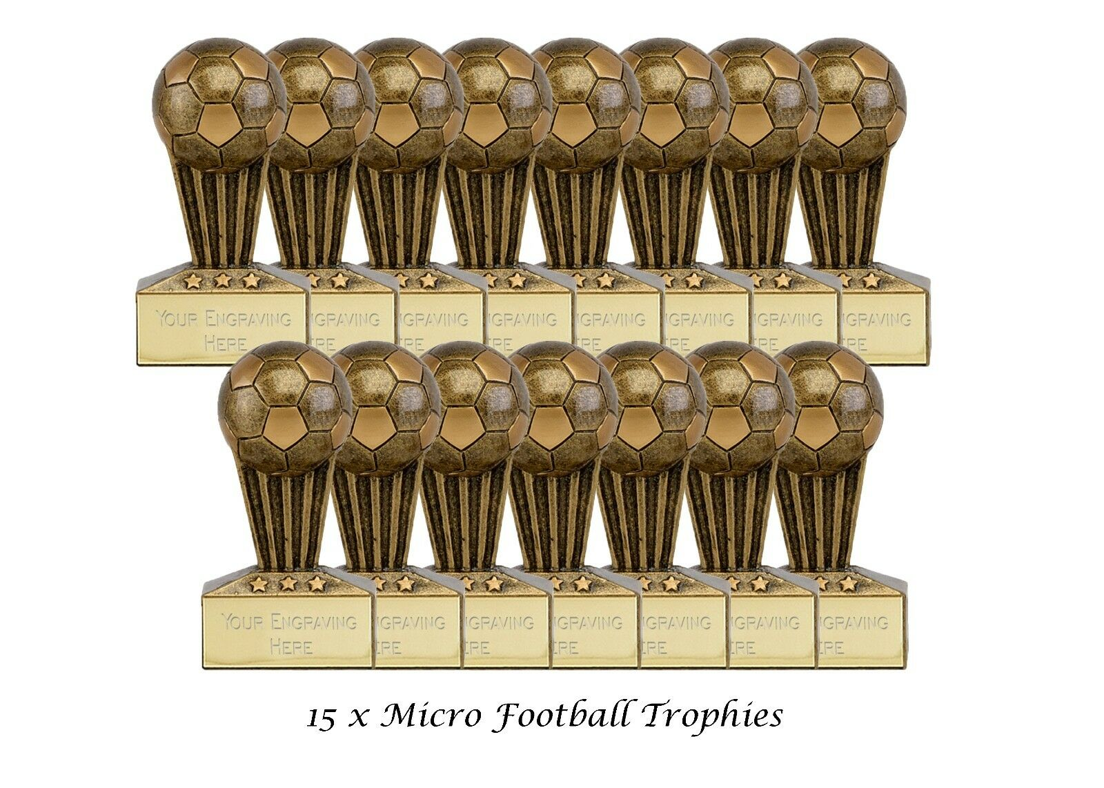 15 Pack x Football - 3D Trophy  - Antique Gold Resin  7.5cm   FREE ENGRAVING