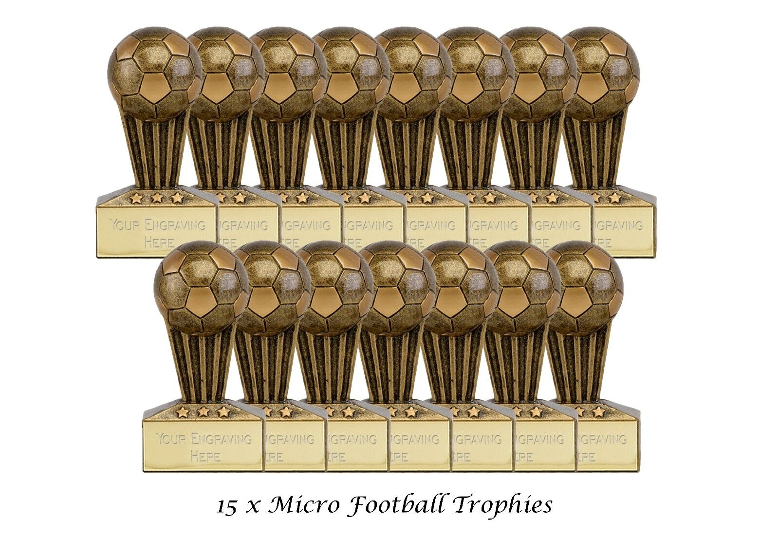 15 paquetes x Fútbol -  3D oro antiguo trofeo resina 7.5 cm Grabado Gratis  nuevo listado