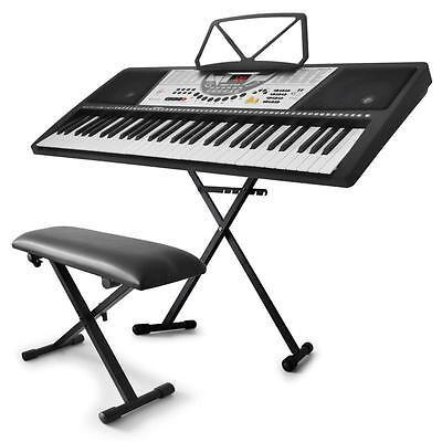 61-TASTEN KEYBOARD SET STÄNDER STATIV PIANO SITZBANK STUHL E-PIANO KLAVIER NEU