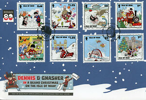 Isle-of-Man-IOM-2018-FDC-Beano-Noel-Dennis-Menace-8-V-Couverture-COMICS-timbres