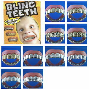 Details About 5 Bling Grill Grillz Fake Teeth Bulk Birthday Party Gold Silver New