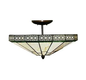 Image Is Loading Semi Flush Ceiling Light Fixture Stained Gl Pendant