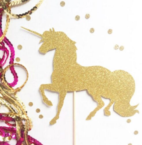 Magical Birthday Gold Glitter Unicorn Pegasus Wings Cake Topper 15cm approx