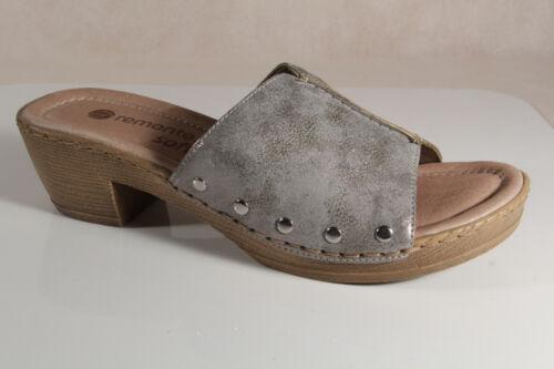 D6957 Remonte Semelle Pantoufles Gris En Cuir Nouveau Sandals Slippers RAq1aO