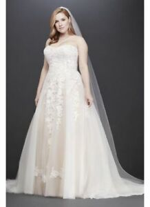 Details About David S Bridal Size Uk 18 Ivory Strapless Sheer Lace Bodice Ball Gown Bnwt