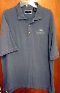SEA-WORLD-polo-shirt-XL-Shamu-golf-Orca-Killer-Whales-park-Aurora-1990s-OHIO