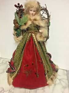 Beautiful-16-034-Christmas-Angel-Tree-Topper-Porcelain-Face-Fur-Grapevine-Wings