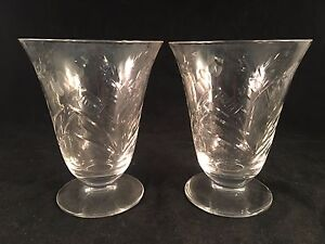 Etched-Floral-Clear-Glass-Footed-Drinking-Glasses-4-1-2-034-H-x-3-1-2-034-D-Set-of-2
