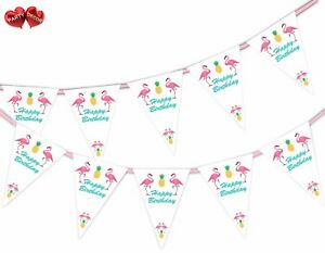 Esotico-Happy-Birthday-Banner-Bandierine-15-Bandiere-Flamingo-Ananas-Da-Festa-Decor