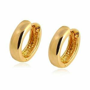 Small Size 18ct Yellow Gold Filled Creole Hoop Earrings Womens Girls GF cwap2l8Jst