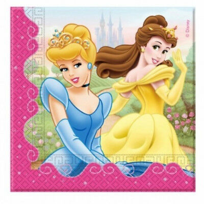 20 Disney Princess 6.5in Disposable 2ply Paper Lunch Napkins