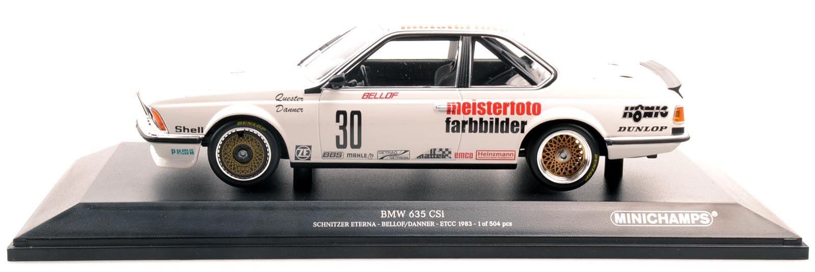 MINICHAMPS 155832530 BMW 635 CSI Schnitzler Bellof Danner ETCC 1983 1 18 Nouveau Neuf dans sa boîte