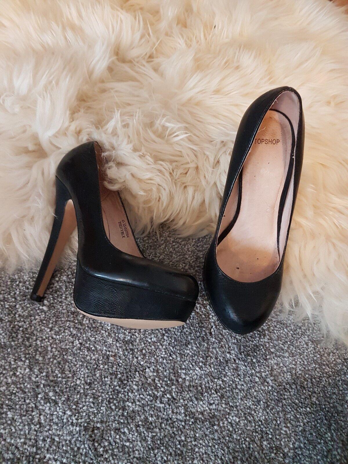 Real Leather Topshop Platform Court shoes Black 36 3 Heels