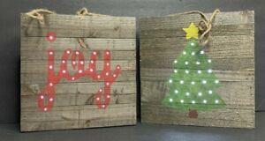 Country Christmas Tree Joy Light Up Wood Cutout Wall Hanging Decor 10 X10 Pair Ebay