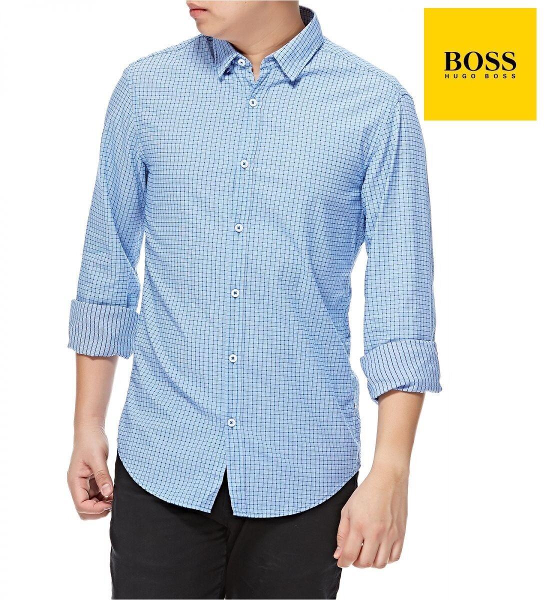 Hugo Boss Men's casual 100% Cotton Button Down Shirt in Light bluee