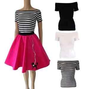 50s-Off-The-Shoulder-Top-GREASE-HAIRSPRAY-COSTUME-Pink-Ladies-UK-Stripe-BARDOT