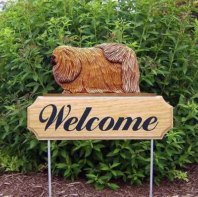 Pekingese Dog Breed Oak Wood Welcome Outdoor Yard Sign Sable
