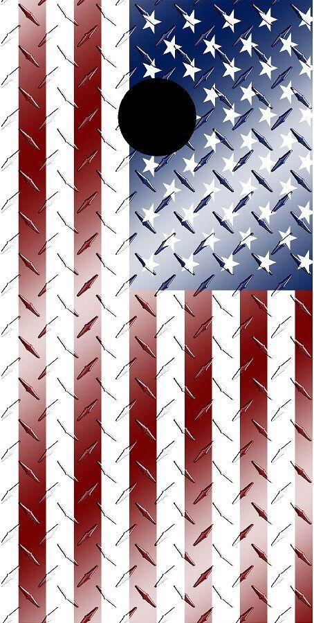 American flag diamond plate metal cornhole baord game decal wraps