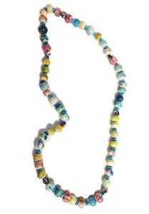 Hand-painted Bone Turquoise Glass  Beaded Necklace Sandra Rubel Handmade