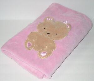 Okie-Dokie-Pink-Baby-Blanket-30-034-x-40-034-Tan-Bear-Fleece