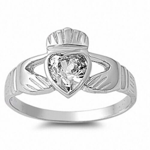 Irish Dublin Claddagh Fidelity Promise Ring Sterling Silver 0.80CT Russian CZ
