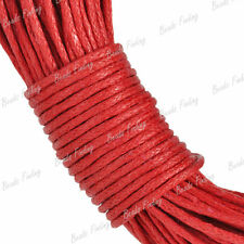 Fit Bracelet 20m Waxed Cotton Cord Thread Red Wire Findings 1x1 TC0036