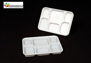 200-x-Disposable-6-section-Compartment-Plastic-Plates-Tray-Party